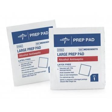 Alcohol prep pad, 2-ply, large part no. mds090670 (100/box)