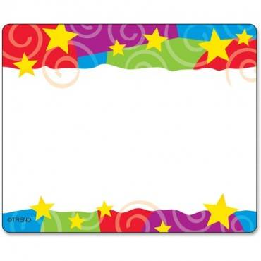 Trend Stars & Swirls Colorful Self-adhesive Name Tags (PK/PACKAGE)