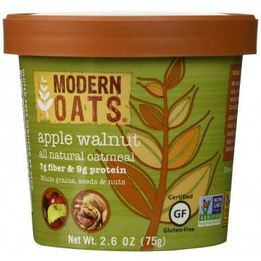Modern Oats All Natural Oatmeal - Apple Walnut - Case Of 6 - 2.6 Oz.