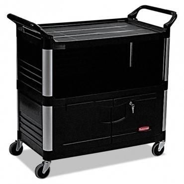 Xtra Equipment Cart, 300-lb Cap, Three-shelf, 20-3/4w X 40-5/8d X 37-4/5h, Black