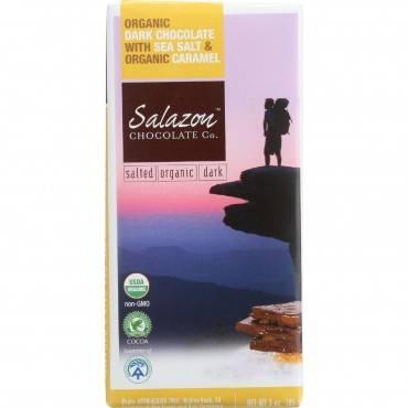 Salazon Chocolate Bar - Organic - 57 Percent Dark Chocolate - Sea Salt and Caramel - 2.75 oz - case