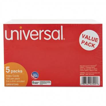 Unruled Index Cards, 5 X 8, White, 500/pack