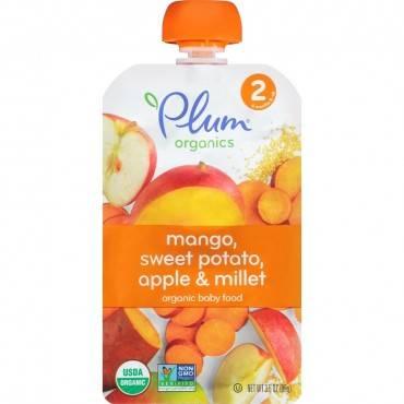 Plum Organics Baby Food - Mango, Sweet Potato, Apple and Millet - Case of 6 - 3.5 oz.