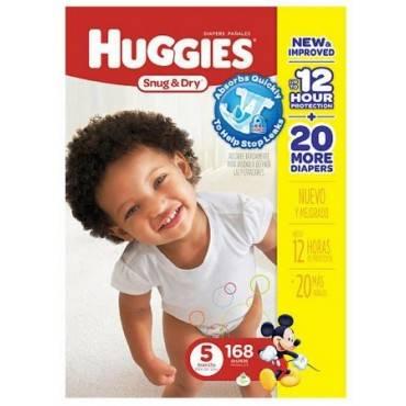 Baby Diaper Huggies Snug  Dry Tab Closure Size 5 Disposable Qty 168