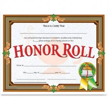 Flipside Honor Roll Certificate (PK/PACKAGE)