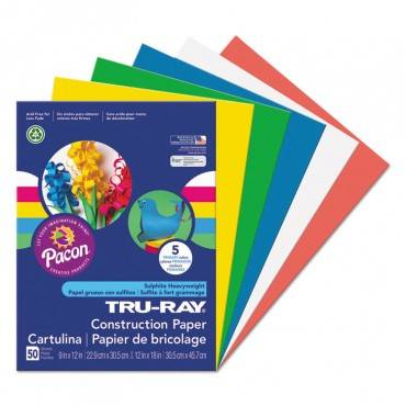 Pacon  Tru-Ray Construction Paper, 76 Lbs., 9 X 12, Assorted Primary, 50 Sheets/Pack