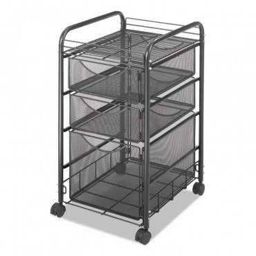 Safco  Onyx Mesh Mobile File With Two Supply Drawers, 15-1/4w X 17d X 27h, Black