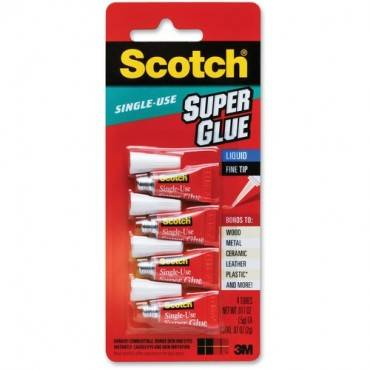 Scotch® Super Glue Liquid, 4-Pack of single-use tubes, .017 oz each (PK/PACKAGE)
