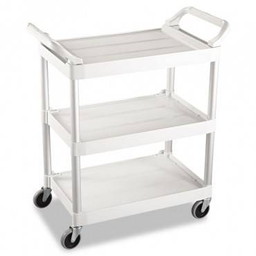 Service Cart, 200-lb Capacity, Three-shelf, 18.63w X 33.63d X 37.75h, Off-white