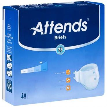 """Attends adult extra absorbent breathable brief regular 44"""" - 56"""" part no. brbx25 (24/package)"""