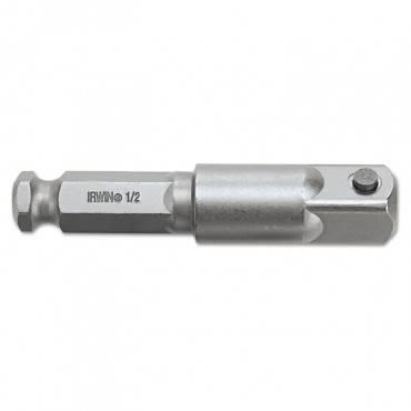 "Hex Shank Square Drive Socket Adapter, 7/16"", 1/2"" X 3"" Pin"