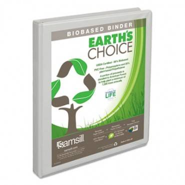 "Earth's Choice Biobased Round Ring View Binder, 1/2"" Cap, White"