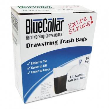 Bluecollar Drawstring Trash Bags, 13gal, 0.8mil, 24 X 28, White, 80/Box