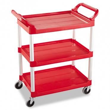 Rubbermaid  Commercial Service Cart, 200-Lb Cap, Three-Shelf, 18-5/8w X 33-5/8d X 37-3/4h, Red