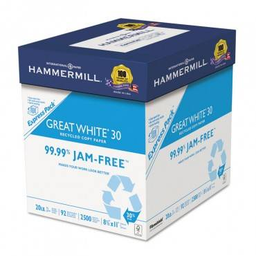 Great White 30 Recycled Print Paper, 92 Bright, 20lb, 8.5 X 11, White, 250 Sheets/ream, 10 Reams/carton