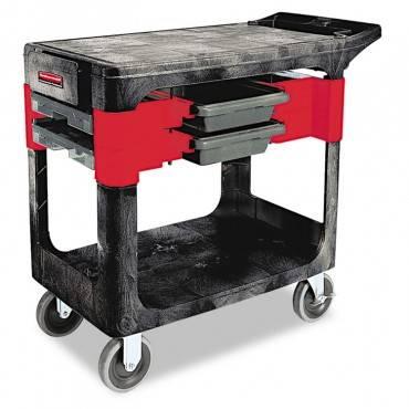 Rubbermaid  Commercial Trades Cart, Two-Shelf, 19-1/4w X 38d X 33-3/8h, Black