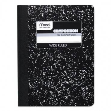 Composition Book, Wide/legal Rule, Black Cover, 9.75 X 7.5, 100 Pages