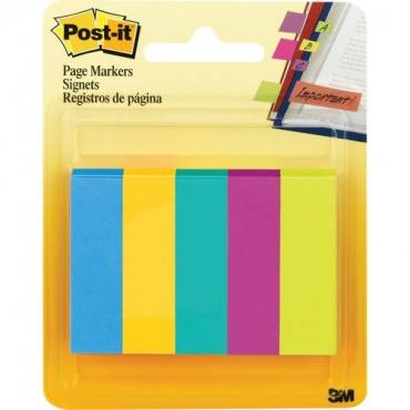 Post-it Page Markers, Assorted Colors , 1/2 in x 2 in (PK/PACKAGE)