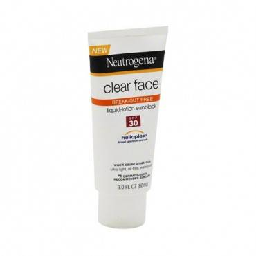 Neutrogena Clear Face Liquid Sunblock Lotion SPF 30, 3 oz. Part No. 681108700 Qty 1