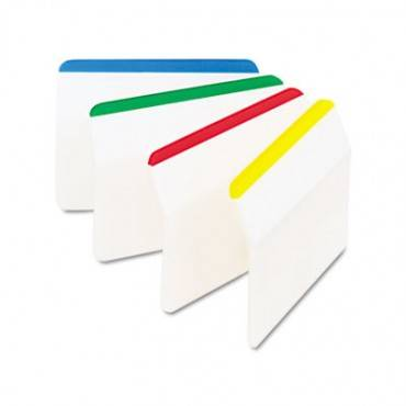 Angled Tabs, 2 X 1 1/2, Striped, Assorted Primary Colors, 24/pack