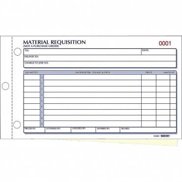 Material Requisition Book, 7 7/8 X 4 1/4, Two-part Carbonless, 50-set Book