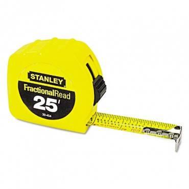 "Tape Rule, 1"" X 25ft, Steel Blade, Plastic Case, Yellow"