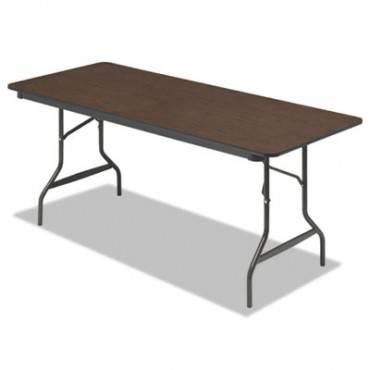 Economy Wood Laminate Folding Table, Rectangular, 72w X 30d X 29h, Walnut
