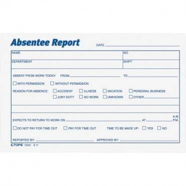 TOPS Absentee Report Form (PK/PACKAGE)