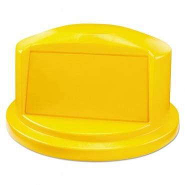 "Round Brute Dome Top Lid For 44gal Waste Containers, 24.81"" Dia, Yellow"