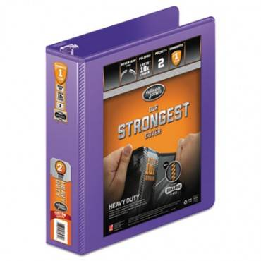 "Heavy-duty Round Ring View Binder With Extra-durable Hinge, 3 Rings, 2"" Capacity, 11 X 8.5, Purple"