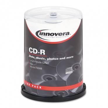 Innovera  Cd-R Discs, Hub Printable, 700mb/80min, 52x, Spindle, Matte White, 100/Pack