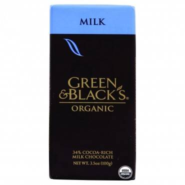 Green and Black's Organic Chocolate Bars - Milk Chocolate - 34 Percent Cacao - 3.5 oz Bars - Case of