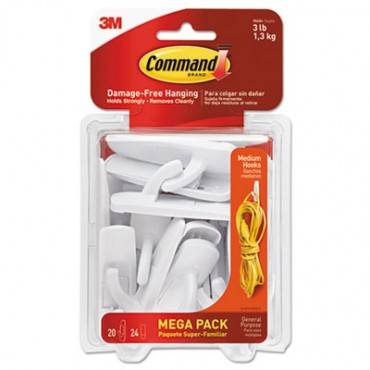 Command  General Purpose Hooks, Medium, 3lb Cap, White, 20 Hooks & 24 Strips/Pack