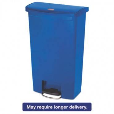Rubbermaid  Commercial Slim Jim Resin Step-On Container, Front Step Style, 18 Gal, Blue