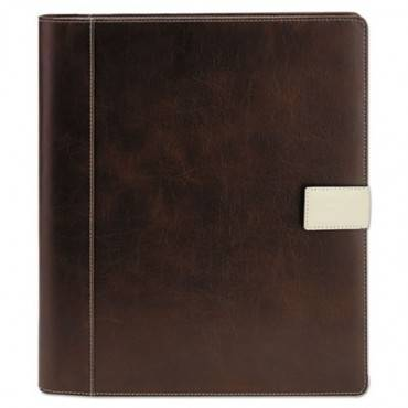 Universal  Textured Notepad Holder, 8 1/2 X 11, Leather-Like, Brown