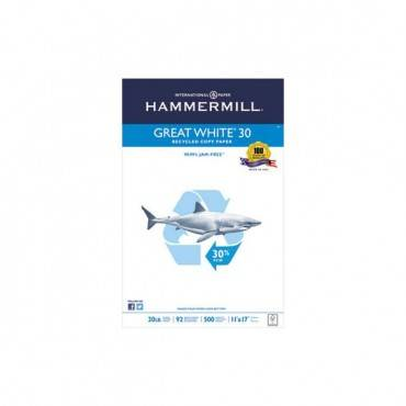 Great White 30 Recycled Print Paper, 92 Bright, 20lb, 11 X 17, White, 500/ream