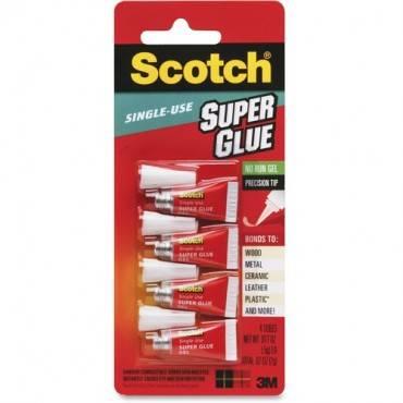 Scotch® Super Glue Gel, 4-Pack of single-use tubes, .017 oz each (PK/PACKAGE)