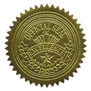 """Self-adhesive Embossed Seals, 2"""" Dia, Official Seal Of Excellence, Gold, 100/pk"""