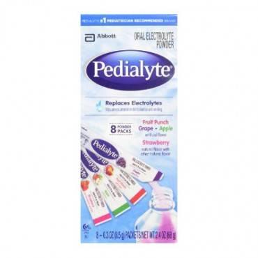 Pedialyte powder pack 4 flavor variety 0.3 oz stick, 8 oz. part no. 56090 (64/case)