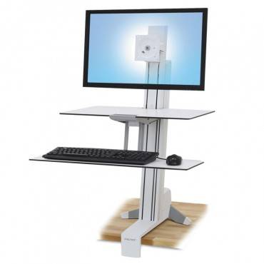 Workfit-S Sit-Stand Workstation W/worksurface+, Lcd Hd Monitor, White