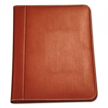 Contrast Stitch Leather Padfolio, 8 1/2 X 11, Leather, Tan