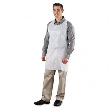 Poly Apron, White, 24 In. W X 42 In. L, One Size Fits All, 1000/carton
