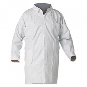 A40 Liquid And Particle Protection Lab Coats, Medium, White, 30/carton
