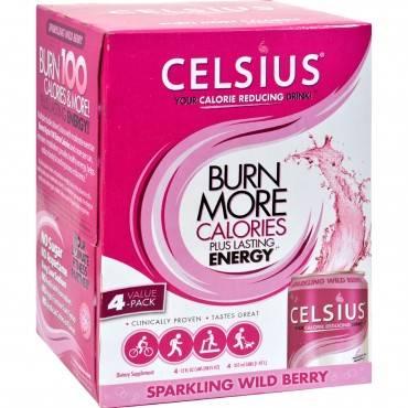 Celsius Sparkling Wild Berry - 12 fl oz Each / Pack of 4