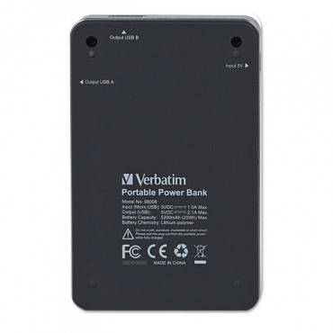 Verbatim  Dual Usb Power Pack Charger For Mobile Devices, 5200 Mah Battery Capacity