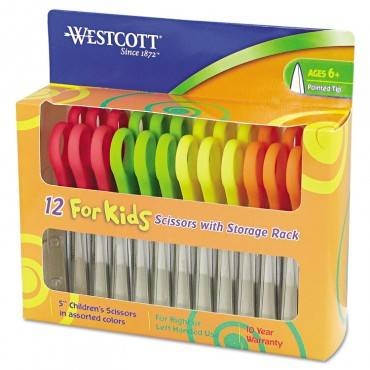 """For Kids Scissors, Pointed Tip, 5"""" Long, 1.75"""" Cut Length, Assorted Straight Handles, 12/pack"""