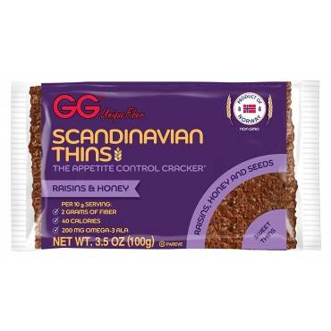 Gg Unique Fiber Scandinavian Thins With Raisin And Honey - Case Of 15 - 3.5 Oz.