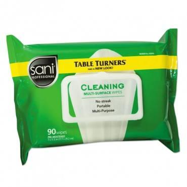 Sani Professional  Table Turner Wet Wipes, 7 X 11 1/2, White, 90 Wipes/Pack, 12 Packs/Carton