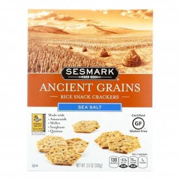 Sesmark Foods Ancient Grains Crackers - Sea Salt - Case Of 6 - 3.5 Oz.