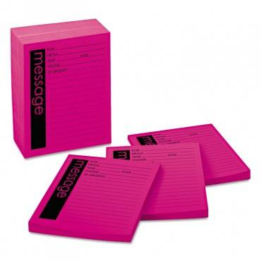 Self-stick Message Pad, 4 X 5, Pink, 50-sheet, 12/pack